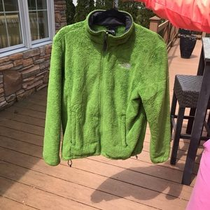 Green fuzzy North Face Jacket